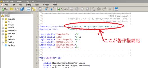 ソースコード内の著作権設定箇所
